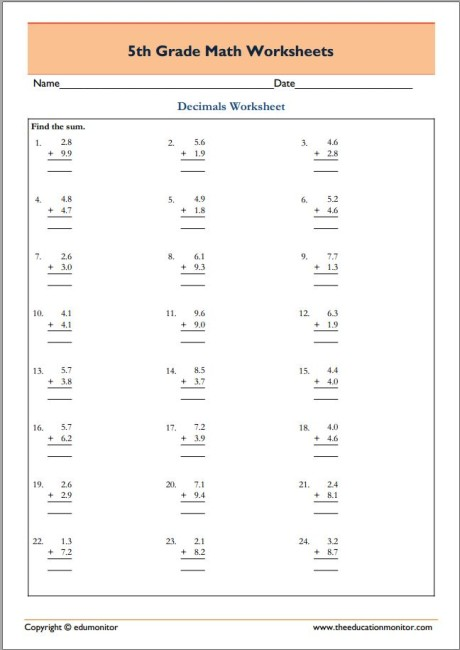 409. 5th Grade Math - Decimals Addition 9