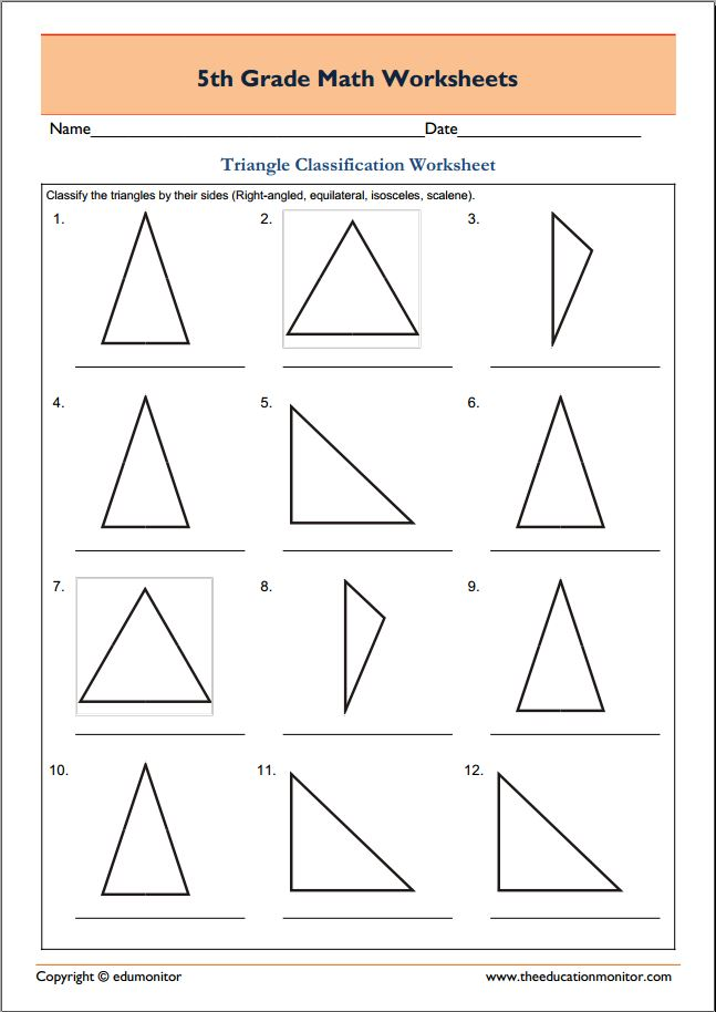 Free 5th Grade Geometry Math Worksheets - Triangle ...