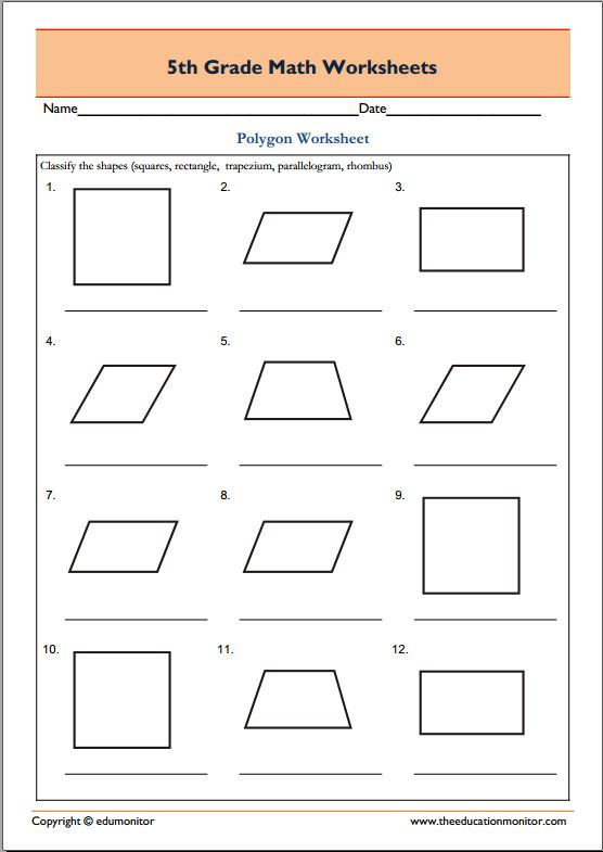 5th Grade Geometry Math Worksheets Polygons EduMonitor
