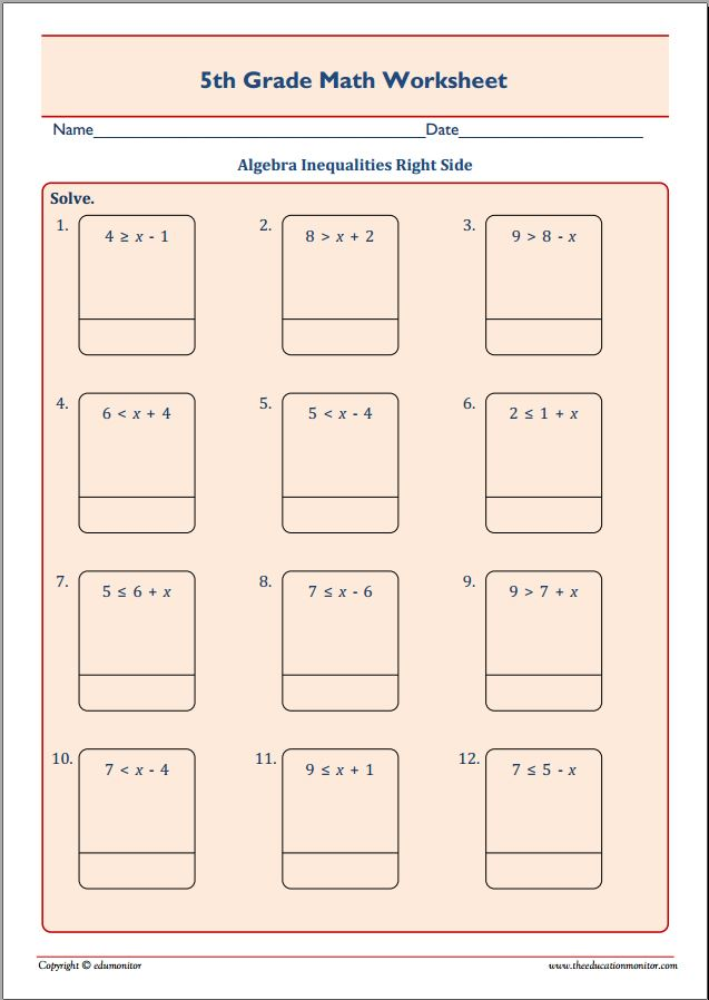 Fifth Grade Algebra Worksheets Templates and Worksheets – 5th Grade Algebra Worksheets