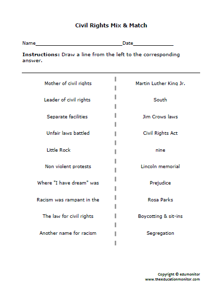 Civil Rights Worksheets & Printables